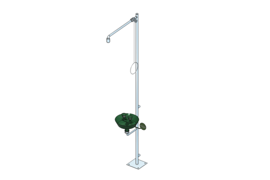 Combined emergency shower for body floor mounting
